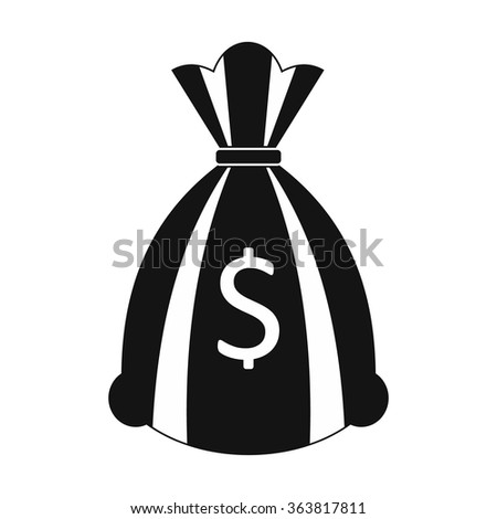 Money bag or sack black simple icon isolated on white background - stock vector