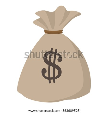Money bag or sack cartoon icon on a white background - stock vector