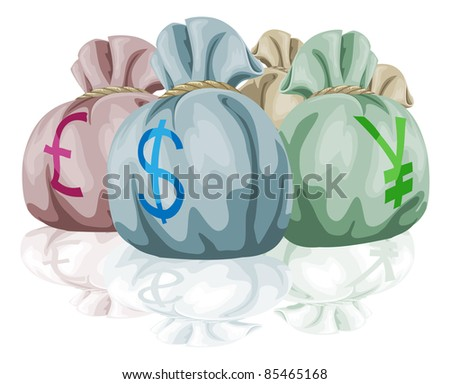 Money bag sacks containing different world currencies. Pound, dollar and yen symbols showing.