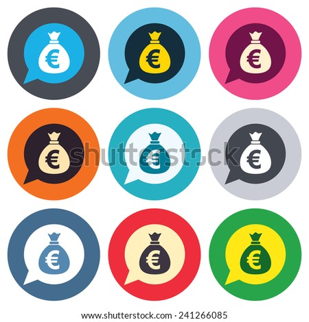 Money bag sign icon. Euro EUR currency speech bubble symbol. Colored round buttons. Flat design circle icons set. Vector - stock vector