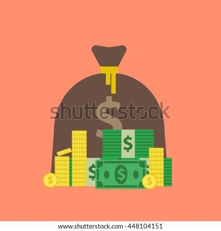 money bag stack of cash banknotes dollars and coins in flat style - stock vector