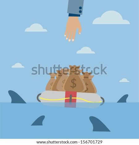money bag surrounded by sharks - stock vector