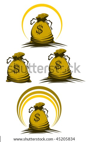Money bag symbols variations for design and decorate - also as emblem or logo template. Jpeg version is also available - stock vector
