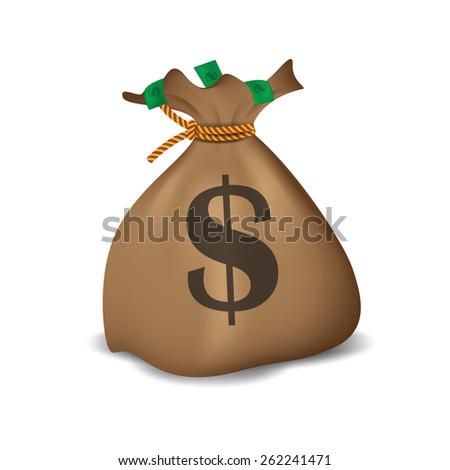 Money bag. Vector illustration - stock vector