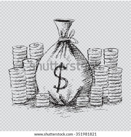 money bag, vector sketch - stock vector