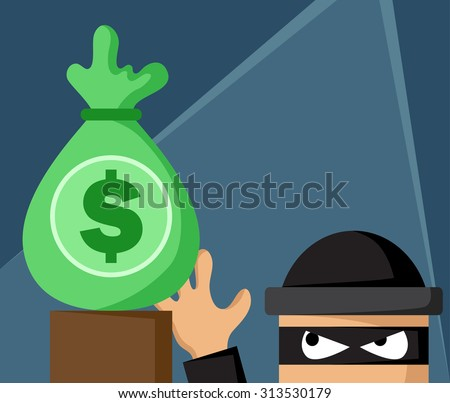 Money bag with burglar - stock vector