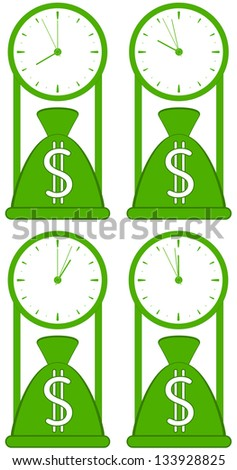 money bag with clock - symbol of world stock time - stock vector