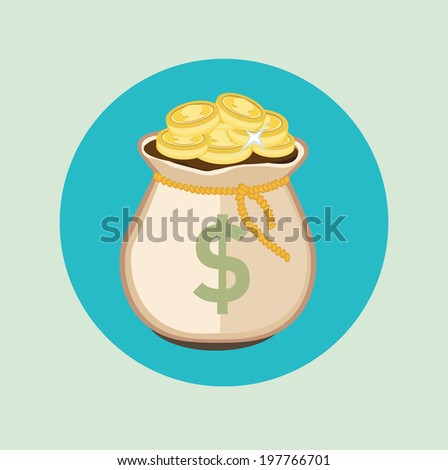 money bag with golden coins flat icon design - stock vector