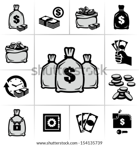 Money bags - stock vector