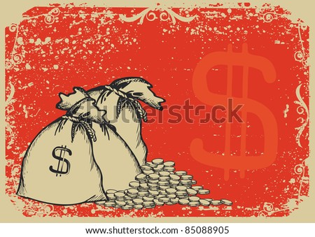 Money bags.Vector graphic image with grunge background - stock vector