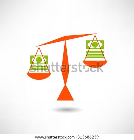 Money,Balance scale,Finance concept,vector - stock vector