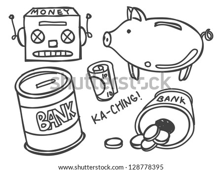 money bank doodle - stock vector