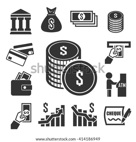 money, bank , investment icons set - stock vector