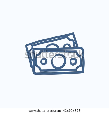 Money banknotes vector sketch icon isolated on background. Hand drawn Money banknotes icon. Money banknotes sketch icon for infographic, website or app. - stock vector