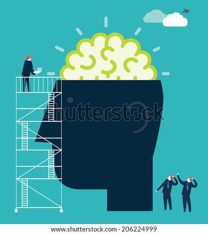 Money Brain - stock vector