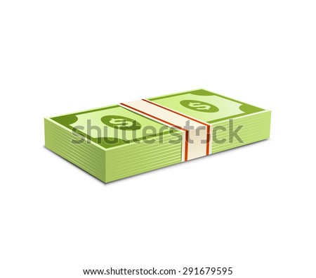 Money bundle of dollars bank notes. Pack of dollars. Vector illustration. Packs of dollars money - stock vector
