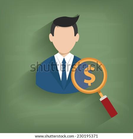 Money,Businessman on blackboard background,vector - stock vector