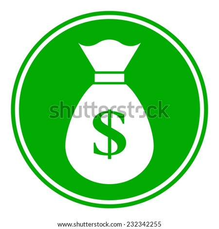 Money button on white background. Vector illustration.