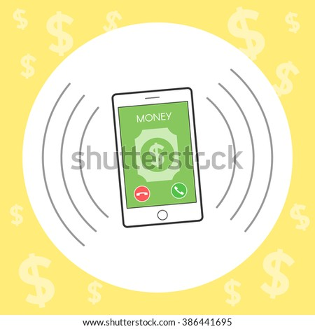 Money call on a mobile phone. Concept of telephone sales. Vector illustration in flat line style to design a website or print - stock vector