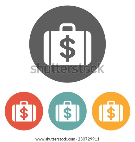 money case with dollar currency symbol icon - stock vector