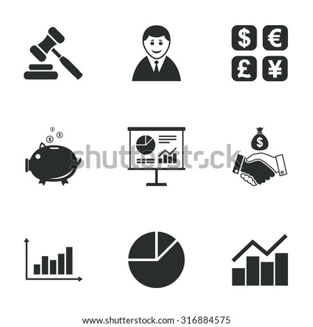 Money, cash and finance icons. Handshake, piggy bank and currency exchange signs. Chart, auction and businessman symbols. Flat icons on white. Vector - stock vector