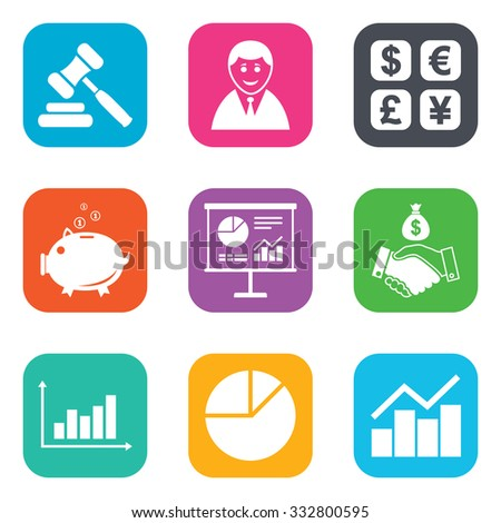 Money, cash and finance icons. Handshake, piggy bank and currency exchange signs. Chart, auction and businessman symbols. Flat square buttons. Vector - stock vector