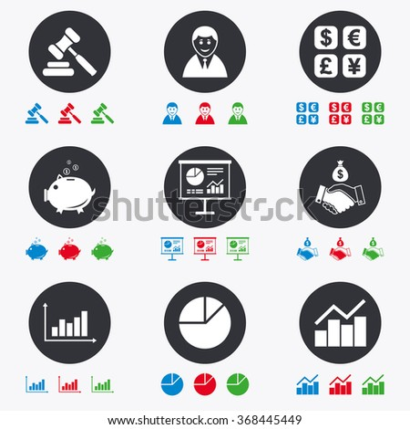 Money, cash and finance icons. Handshake, piggy bank and currency exchange signs. Chart, auction and businessman symbols. Flat circle buttons with icons. - stock vector