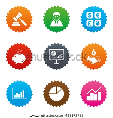 Money, cash and finance icons. Handshake, piggy bank and currency exchange signs. Chart, auction and businessman symbols. Stars label button with flat icons. Vector - stock vector