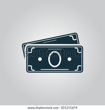 Money Cash. Flat web icon or sign isolated on grey background. Collection modern trend concept design style vector illustration symbol - stock vector