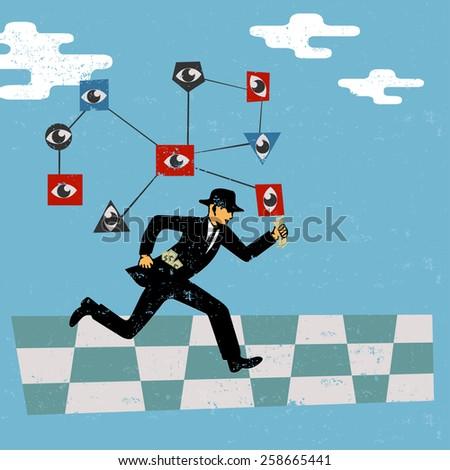 Money chase  - stock vector
