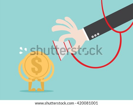 Money check up. Financial health check. Close up businessman hand use stethoscope to check coin money health. Flat design business financial marketing banking concept cartoon illustration. - stock vector