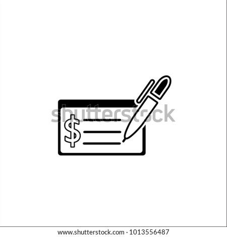 Money Check Vector Icon Bank Money Stock Vector 1013556487