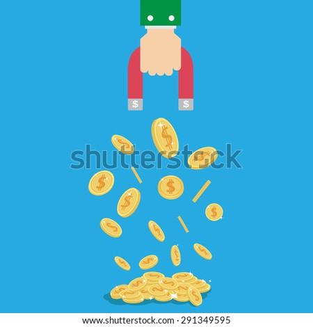 Money coin Magnet in businessman hand concept,vector,Illustration - stock vector
