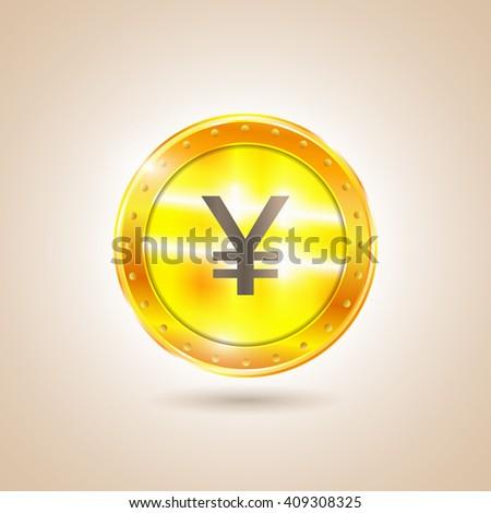 Money - Coin yen. Vector illustration - stock vector