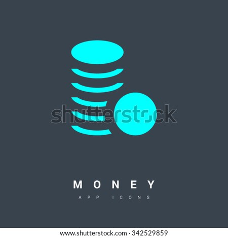 money coins isolated minimal single flat linear icon. Line vector icon for websites and mobile minimalistic flat design. Modern trend concept design style illustration symbol - stock vector