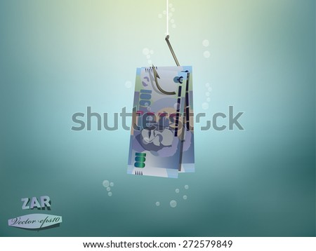 Money concept illustration,south african rand money paper on fish hook - stock vector