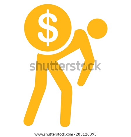 Money courier icon from Business Bicolor Set. Vector style: flat symbol, yellow color, rounded angles, white background. - stock vector