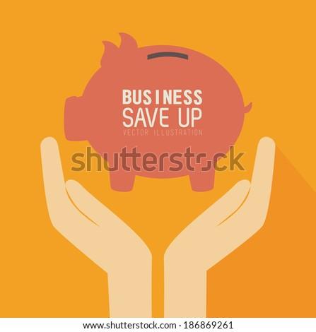 Money design over orange background, vector illustration - stock vector