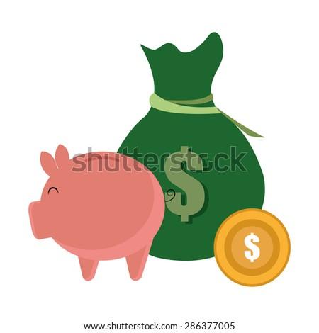 Money design over white background ,vector illustration. - stock vector