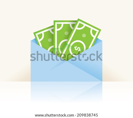 Money - dollar cash banknotes in envelope with reflection isolated on white with copy space. Idea - Big profit, Bank account savings, Electronic money, E-commerce etc. - stock vector