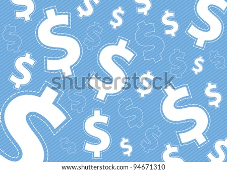 Money dollar icon on blue background vector