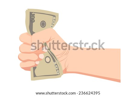 Money dollar in the hand vector (Hand with money, Hand holding Banknotes)  - stock vector