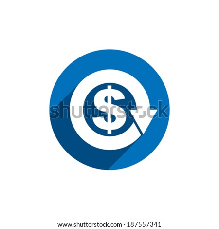 Money dollar sign with arrow vector simple single color conceptual economy and business theme icon. - stock vector