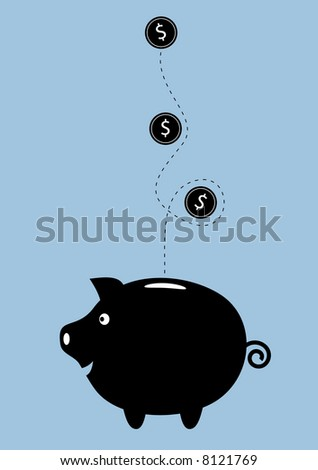 Money dropping into a happy piggy bank.