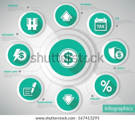 Money & Economic Concept,Blue version,vector - stock vector