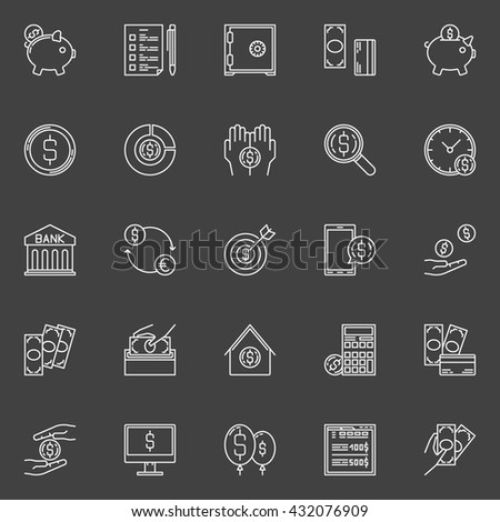 Money economy line icons - vector linear banking and savings signs or pictograms on dark background. Money savings concept symbols - stock vector