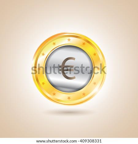 Money - euro coins. Vector illustration - stock vector