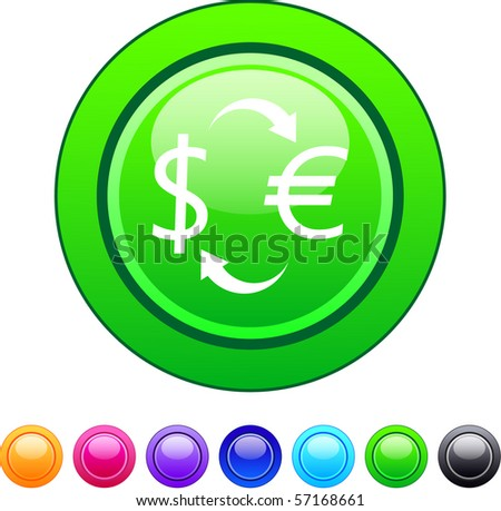 Money exchange glossy circle web buttons. - stock vector
