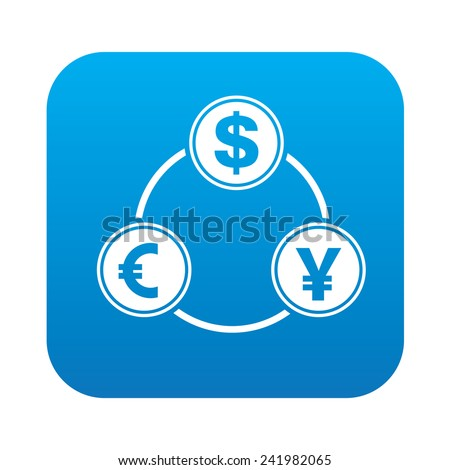 Money exchange icon on blue button background,clean vector - stock vector