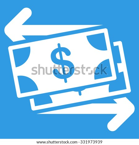 Money Exchange vector icon. Style is flat symbol, white color, rounded angles, blue background. - stock vector